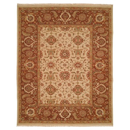 K2 Floor Style Soumak Antique Ivory/Soft Gold Hand Made Wool Area Rug