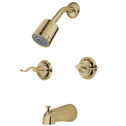 Kingston Brass  KB824.NFL  Tub and Shower  Nuwave French  Faucet  Double Handle  ;Polished Brass