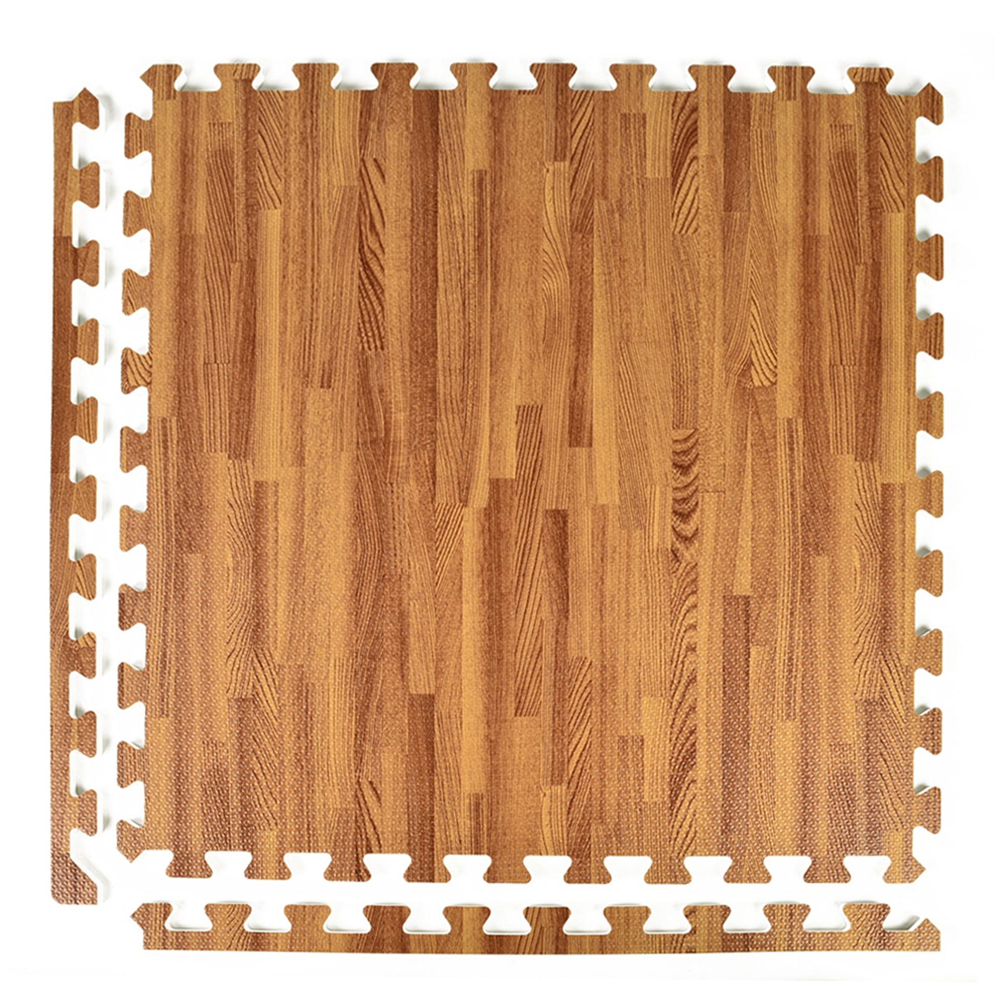 Greatmats FoamFloor Interlocking Dark Wood Grain Design 2 ft. x 2 ft. x 1/2 in. Foam Floor Tiles 25 Pack