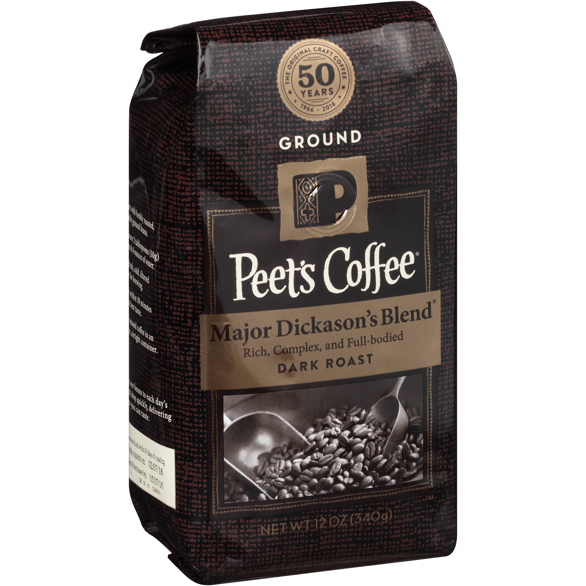 Peet's Coffee Major Dickason's Blend Dark Roast Ground Coffee, 12 oz