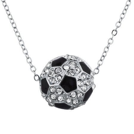 Lux Accessories SilverTone faux Rhinestone Soccer Soccer Mom Pendant - Soccer Necklaces With Number