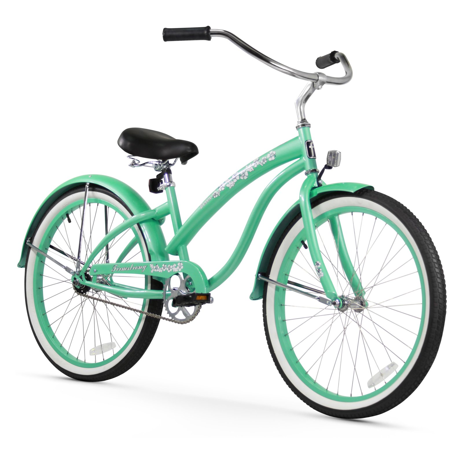 Firmstrong Bella Classic 24 in. 3 Speed Beach Cruiser Bicycle - Mint Green