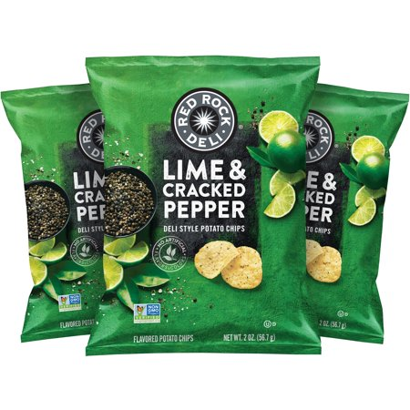 (Red Rock Deli Lime & Cracked Pepper Flavored Deli Style Potato Chips, 2 Ounce (12 Bags))