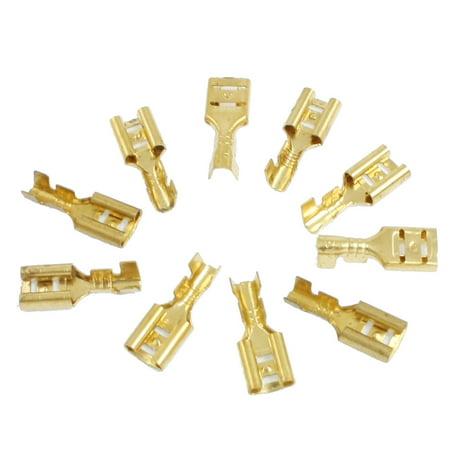 Unique Bargains 10 Pcs Car Speaker Bare Brass Female Spade Terminal Cable Connector 6.5mm