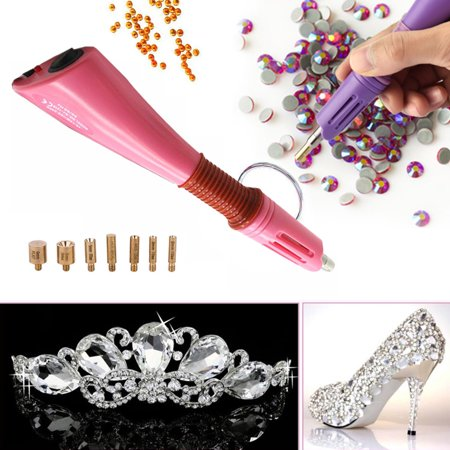 Rhinestone Hot Fix Applicator, DIY Hot Fix Rhinestone Setter Applicator Tool Kit with 7 Tips Pink Hot Pink Rhinestones Snap