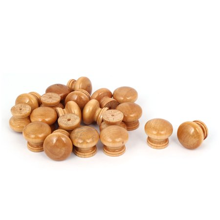 Cabinet Drawer Dresser Wood Round Shape Screw Mounted Pull Knob 25mm Dia 20pcs Cabinet Wood Pulls
