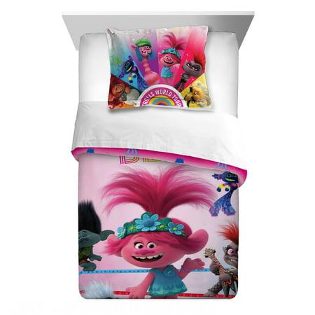 Trolls World Tour Comforter and Sham Set, Kids Bedding Super Soft Microfiber Reversible Comforter, TWIN/FULL Size