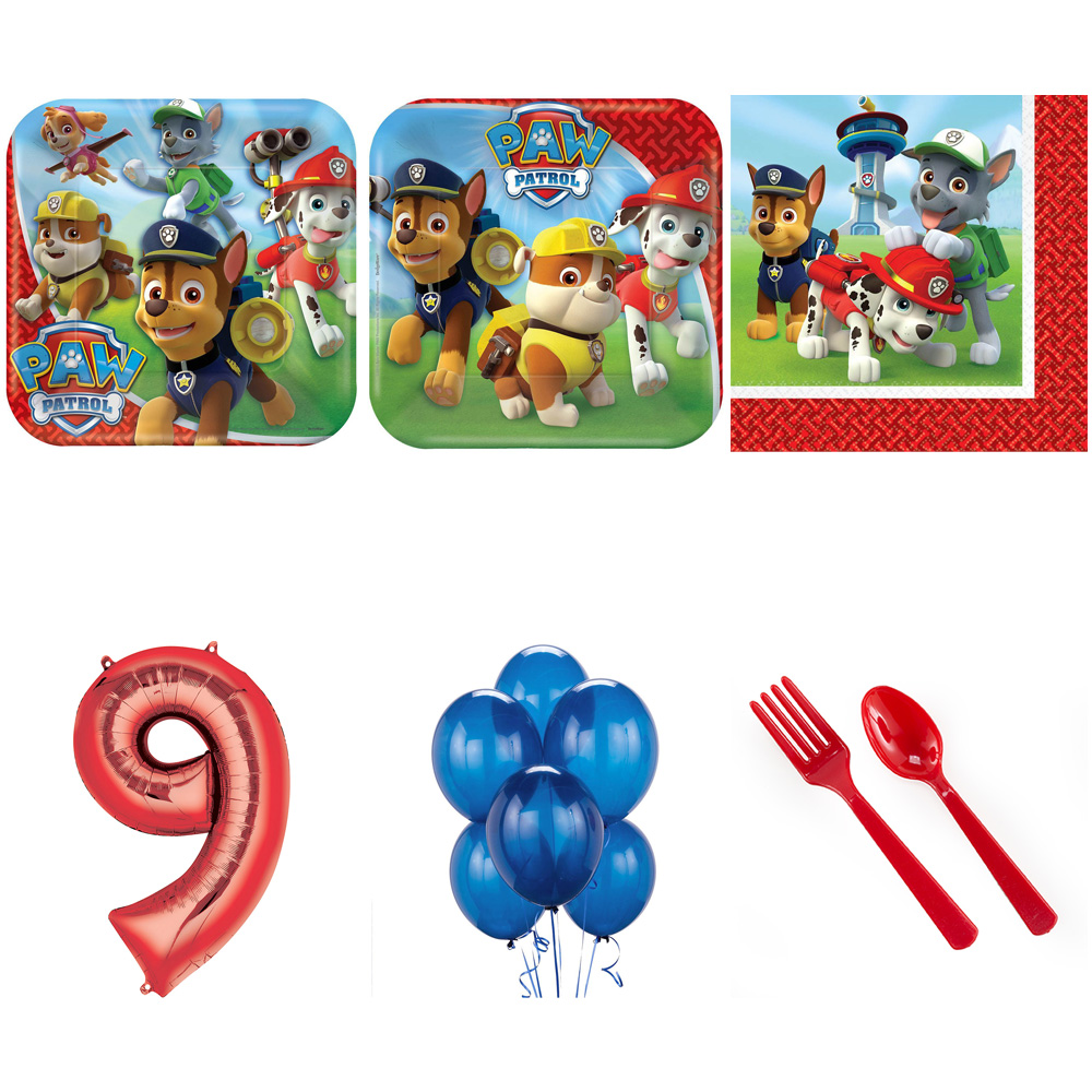 PAW PATROL PARTY SUPPLIES PARTY PACK FOR 32 WITH RED #9 BALLOON