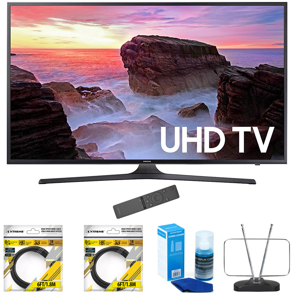 "Samsung 65"" 4K Ultra HD Smart LED TV 2017 Model UN65MU6300FXZA with 2x 6ft High Speed HDMI Cable Black, Universal Screen Cleaner for LED TVs & Durable HDTV and FM Antenna"