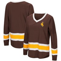 Wyoming Cowboys Colosseum Women's Marquee Players Oversized Long Sleeve V-Neck Top - Brown