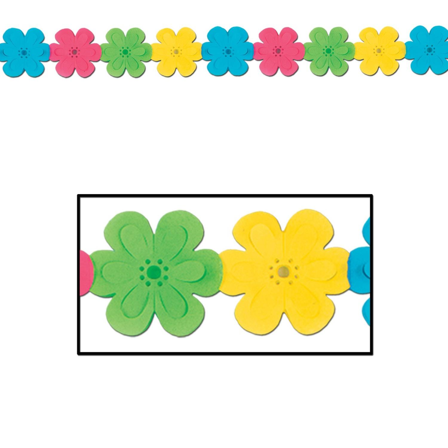 Club Pack of 12 Tropical Flower Garland Decorations 12'
