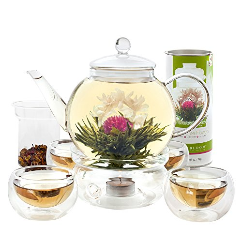 Teabloom Blooming Tea Set Glass Teapot 12 Flowering Tea Sampler