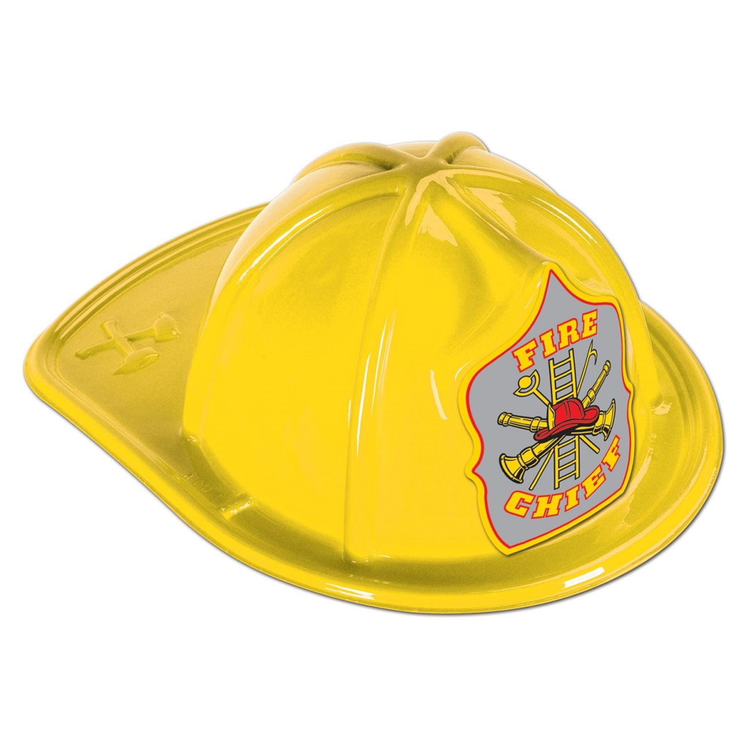 Club Pack of 48 Silver Shield Yellow Plastic Fire Chief Party Hat