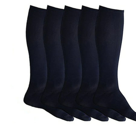Firm Support Graduated Knee High Compression Socks For Men & Women(5 Pack)-Black L/XL