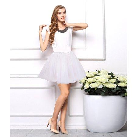 0d64fafdc Jennis - Jennis Women's Adult Tulle Tutu Ballet Dance Fluffy Skirt, White -  Walmart.com