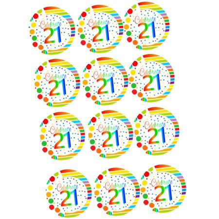 21st Birthday Cookies - CakeSupplyShop Item#RE3-021 Happy 21st Birthday 3inch Rainbow Edible Cupcake / Cookie Frosting Image Toppers -12ct