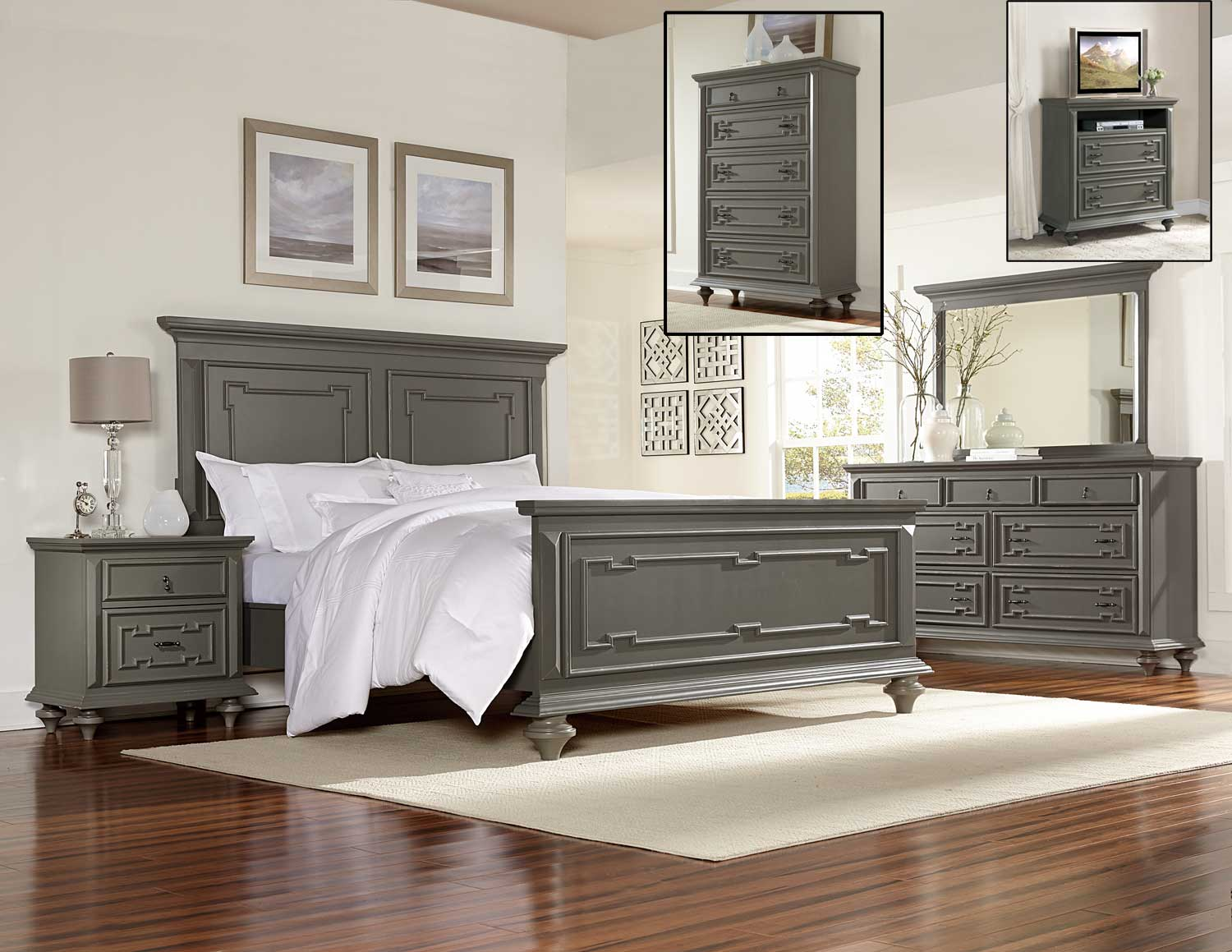 Monterrey Grey Geometric 5 Piece Queen Bedroom Set With