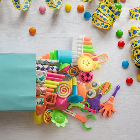 120pc Small Bulk Toys for Birthday Party Favors, Goodie Bags, Piñatas, Prizes, Carnival Games