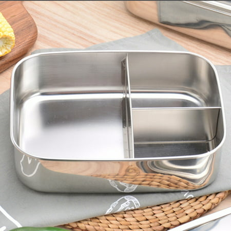3 Sizes Trio Stainless Steel Lunch Container,Three Section Design for Sandwich and Two Sides,Metal Bento Lunch Box for Kids or Adults,Eco-Friendly,Stainless (Sandwich Containers For Kids)