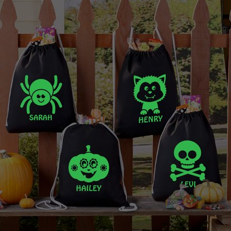 Halloween Treat Baskets Personalized (Personalized Faboolous Glow In The Dark Treat Bags -Available in 4)