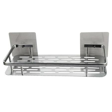Kitchen Metal Self Adhesive Cup Storage Hanger Water Draining Rack Silver Tone