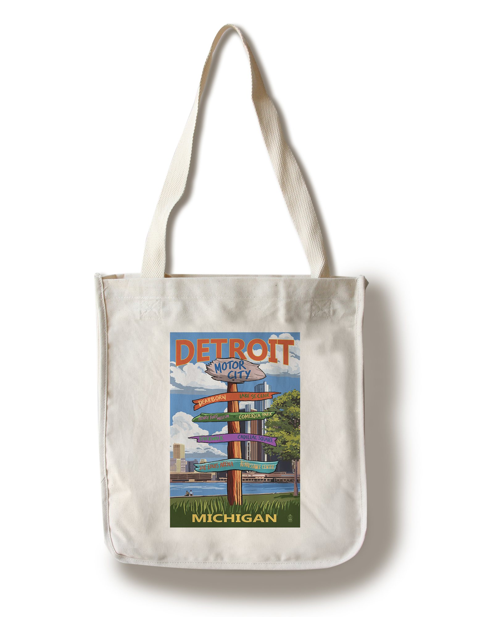 Detroit, Michigan Sign Post Lantern Press Artwork (100% Cotton Tote Bag Reusable) by Lantern Press