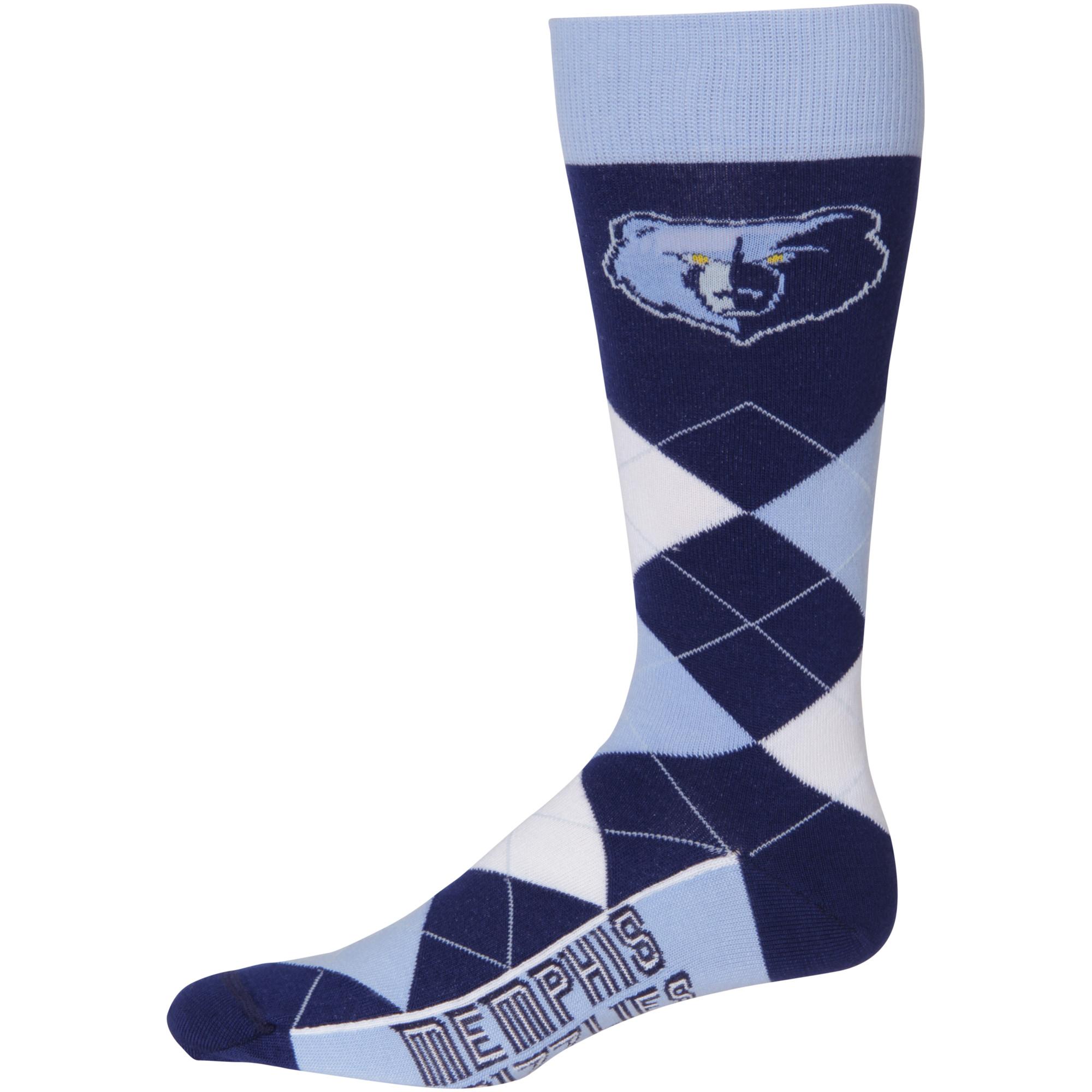 Memphis Grizzlies For Bare Feet Argyle Crew Socks - No Size