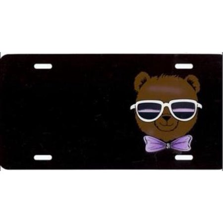 Teddy Bear on Black w. Sunglasses Plate Free Names on this
