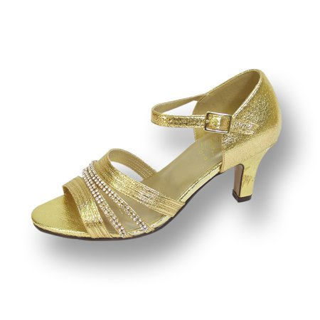 Gold Evening Shoes (FLORAL Eryn Women's Wide Width Evening Dress Shoes for Wedding, Prom, & Dinner GOLD 8 )