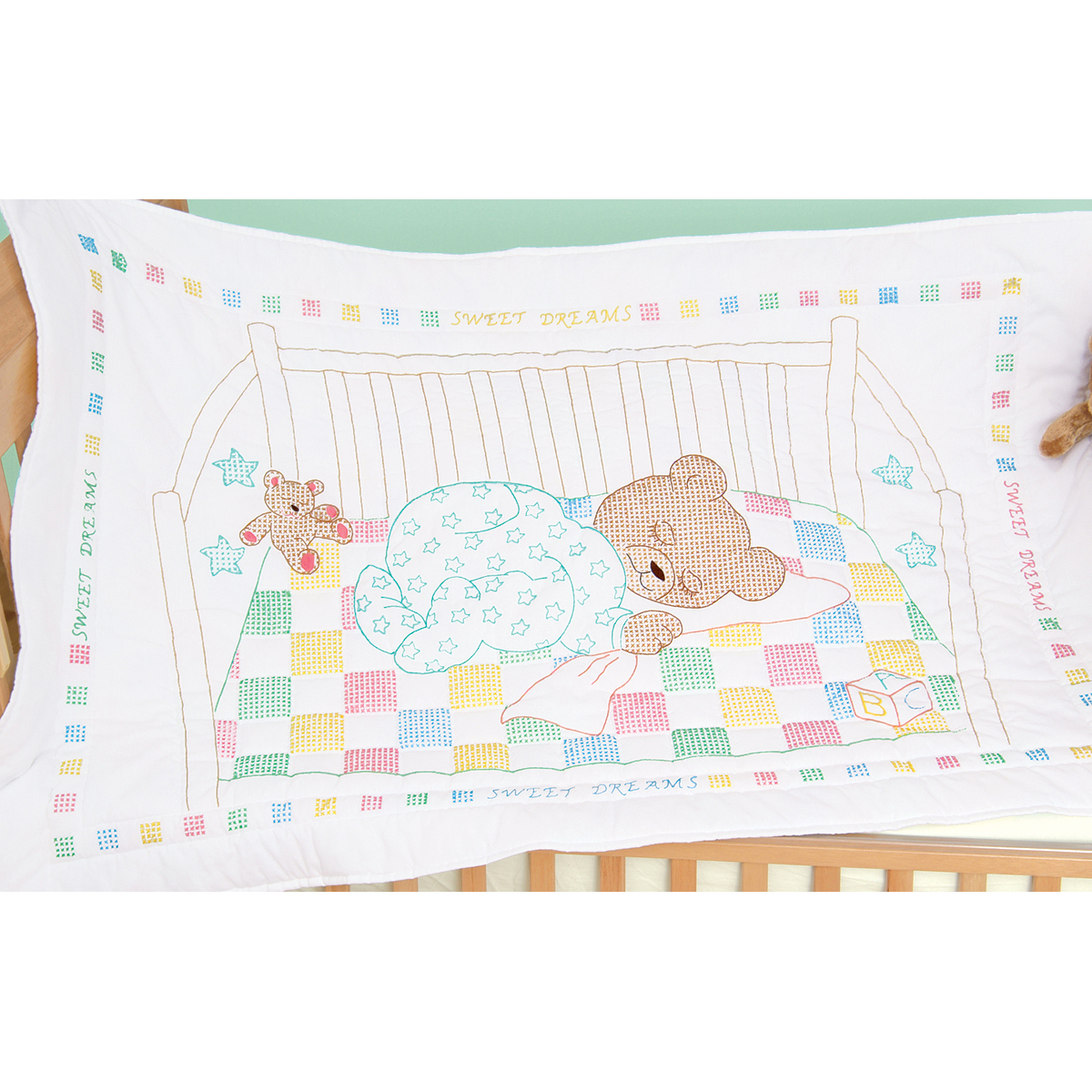 "Jack Dempsey Snuggly Teddy Stamped White Quilt Crib Top, 40"" x 60"""