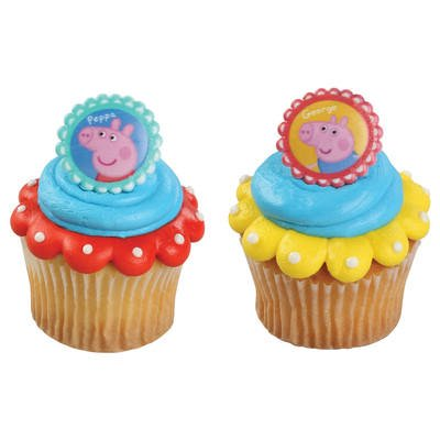 12 Peppa Pig Siblings Cupcake Cake Rings Birthday Party Favors - Peppa Pig Party Theme