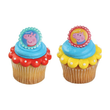 24 Peppa Pig Siblings Cupcake Cake Rings Birthday Party Favors - Peppa Pig Cake Toppers