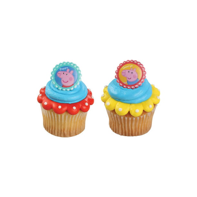 Stupendous 24 Peppa Pig Siblings Cupcake Cake Rings Birthday Party Favors Funny Birthday Cards Online Elaedamsfinfo
