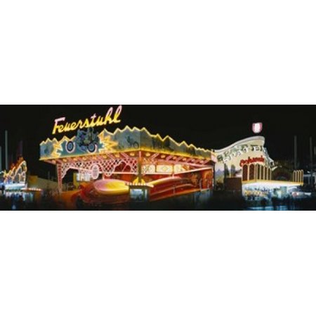 Neon sign lit up at night Oktoberfest Munich Bavaria Germany Canvas Art - Panoramic Images (18 x 6) - Oktoberfest Sign