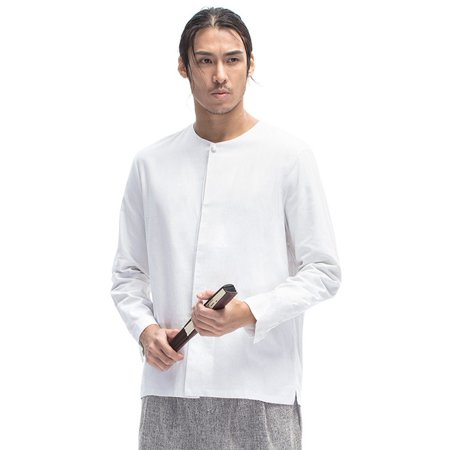 6103640dc INCERUN - INCERUN Men Stand Collar Cotton Linen Long Sleeve Shirt Slim  Casual Linen Shirt Fashion Male Clothes - Walmart.com