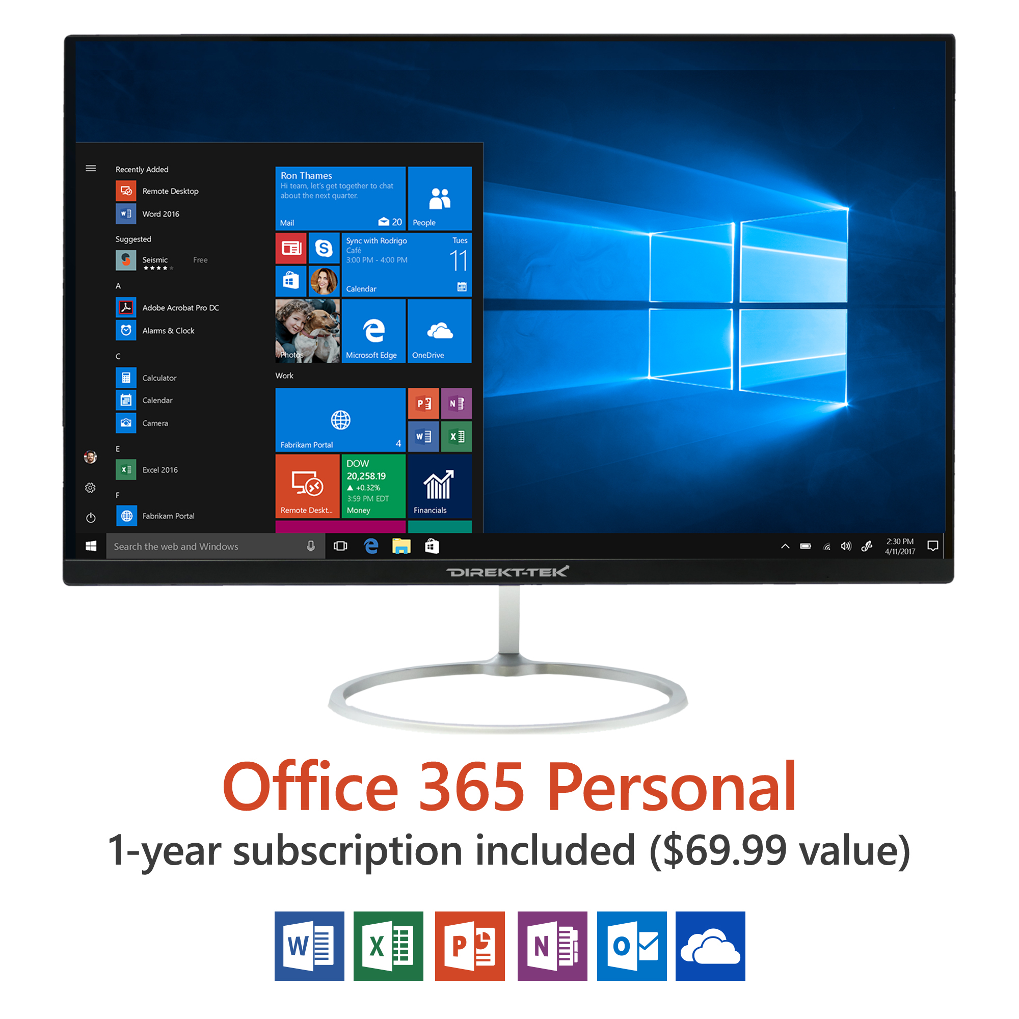 "Direkt-Tek 23.8"" All In One Desktop PC with Wireless Keyboard and Mouse, Windows 10 Home, Office 365 Personal 1-Year Subscription Included ($69.99 Value), 32GB Hard Drive, Intel Processor"