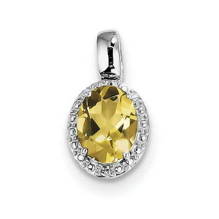 925 Sterling Silver Rhodium Plated with Whiskey Quartz Oval Shaped Pendant - image 2 of 2