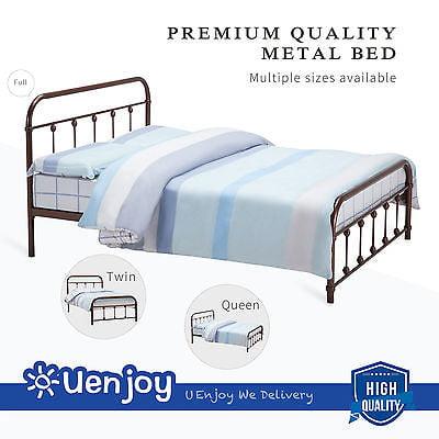 Metal Queen Size Bed Frame Platform w/Headboard Footboard Bedroom ...