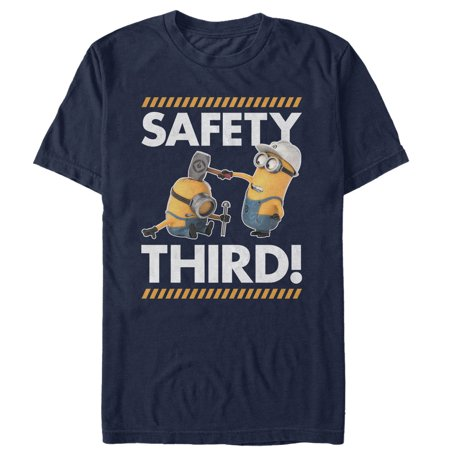 despicable me men's minions safety third t-shirt