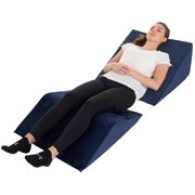 Bed Wedge Pillow  2 Separate Memory Foam Incline Cushions, System for Legs, Knees and Back Support Pillow | Acid Reflux, Anti Snoring, Heartburn, Reading  Machine Washable, Navy