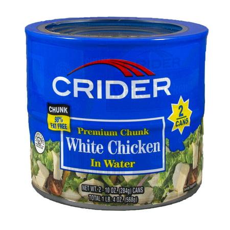 (2 Cans) Crider Premium Chunk White Chicken in Water, 10 oz