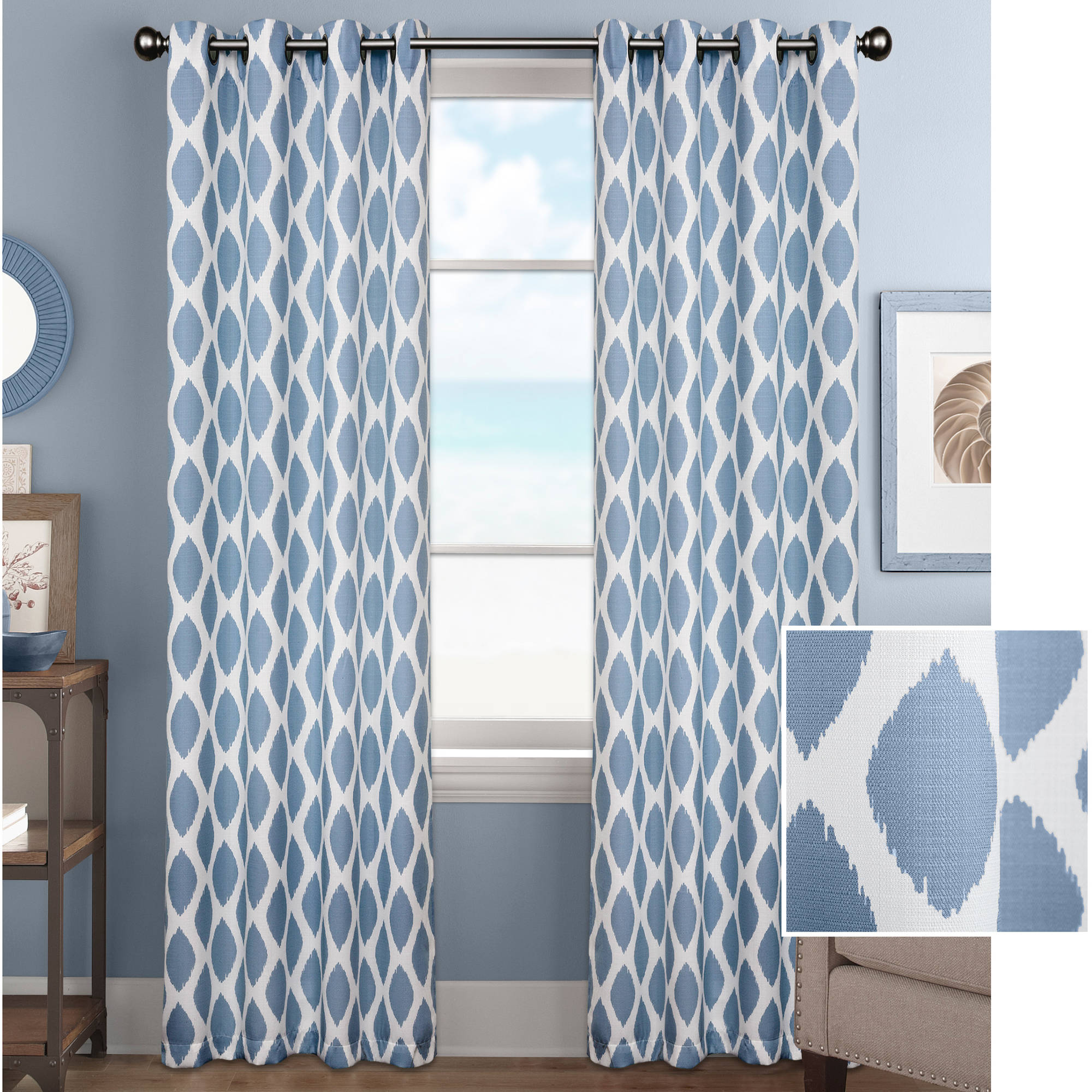 better homes and gardens ikat diamonds curtain panel walmart comHome Decorations With Blue Drapes #20