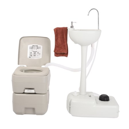 UBesGoo Portable Hand Wash Sink Basin Stand with Fauce +  20L/5 Gallon Camping Flushing Toile, for Outdoor Garden  Vehicle Party