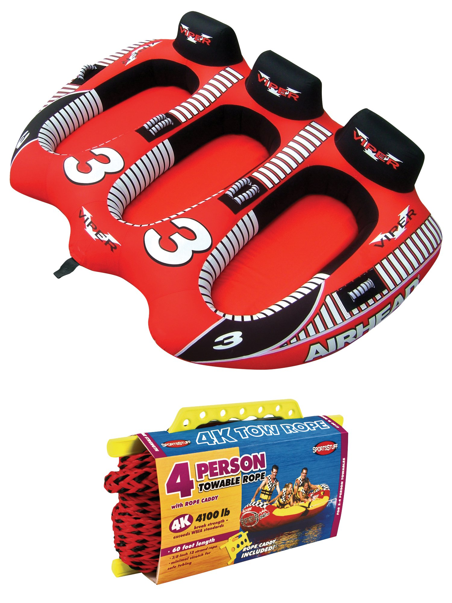 AIRHEAD AHVI-F3 Viper 3 Triple Rider Cockpit Inflatable Towable Tube w  Tow Rope by Kwik Tek