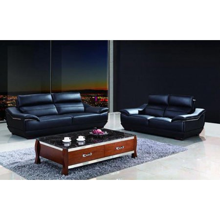 Maxwest P568 Modern Black Genuine Leather Sofa and Loveseat Set 2 Pcs