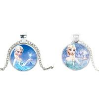 2-Piece Set Elsa Frozen Silvertone Anti-Tarnish Necklace Pendant Jewelry-223-A