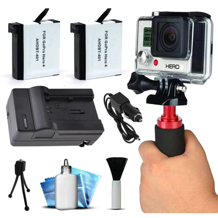 Gopro Hero4 Hero 4 Black Silver Best Value Accessory Package Includes Ahdbt401 Battery Pack  2    Stabilization Handheld Handle   Home   Wall Car Travel Charger   Dust Removal Cleaning Kit