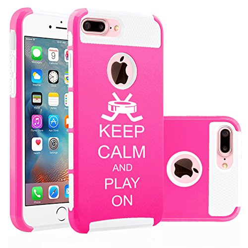 For Apple iPhone (7 Plus) Shockproof Impact Hard Soft Case Cover Keep Calm And Play On Hockey (Hot Pink-White)