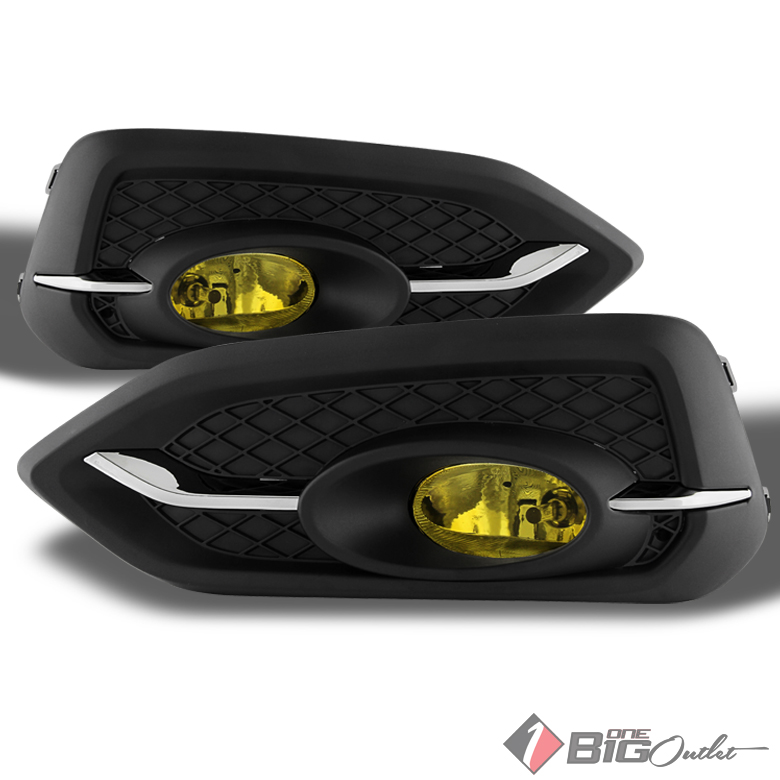2014-2015 Civic 2-Door Yellow Fog Lights w/Switch, Harness, Wiring Completed Set Pair Left+Right