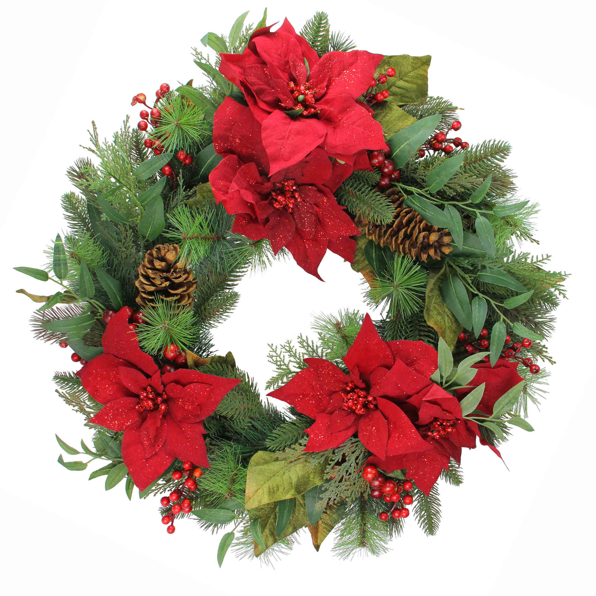 """Allstate 26"""" Unlit Poinsettia Berry and Pine Cone Artificial Christmas Wreath"""